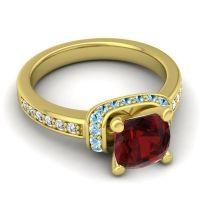 Halo Cushion Aksika Garnet Ring with Aquamarine and Diamond in 14k Yellow Gold