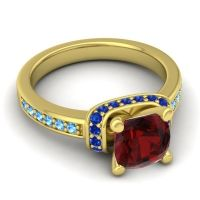 Halo Cushion Aksika Garnet Ring with Blue Sapphire and Swiss Blue Topaz in 14k Yellow Gold