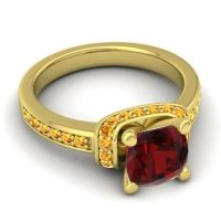 Halo Cushion Aksika Garnet Ring with Citrine in 18k Yellow Gold