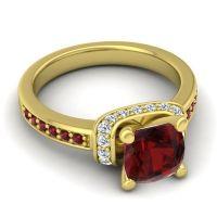 Halo Cushion Aksika Garnet Ring with Diamond in 14k Yellow Gold