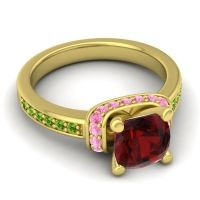 Halo Cushion Aksika Garnet Ring with Pink Tourmaline and Peridot in 18k Yellow Gold