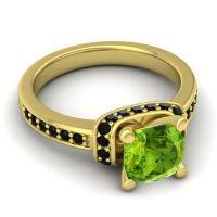 Halo Cushion Aksika Peridot Ring with Black Onyx in 18k Yellow Gold