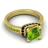 Halo Cushion Aksika Peridot Ring with Black Onyx in 14k Yellow Gold