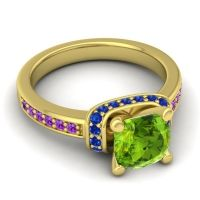 Halo Cushion Aksika Peridot Ring with Blue Sapphire and Amethyst in 18k Yellow Gold