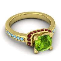 Halo Cushion Aksika Peridot Ring with Garnet and Swiss Blue Topaz in 14k Yellow Gold