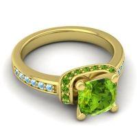 Halo Cushion Aksika Peridot Ring with Aquamarine in 14k Yellow Gold