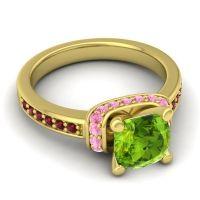 Halo Cushion Aksika Peridot Ring with Pink Tourmaline and Garnet in 14k Yellow Gold