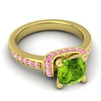 Halo Cushion Aksika Peridot Ring with Pink Tourmaline in 14k Yellow Gold