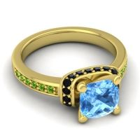 Halo Cushion Aksika Swiss Blue Topaz Ring with Black Onyx and Peridot in 14k Yellow Gold