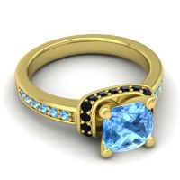 Halo Cushion Aksika Swiss Blue Topaz Ring with Black Onyx in 18k Yellow Gold