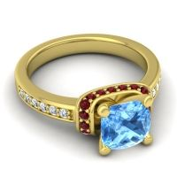 Halo Cushion Aksika Swiss Blue Topaz Ring with Garnet and Diamond in 18k Yellow Gold