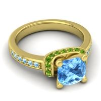 Halo Cushion Aksika Swiss Blue Topaz Ring with Peridot and Aquamarine in 18k Yellow Gold