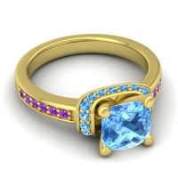Halo Cushion Aksika Swiss Blue Topaz Ring with Amethyst in 18k Yellow Gold