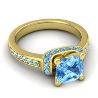 Halo Cushion Aksika Swiss Blue Topaz Ring with Aquamarine in 14k Yellow Gold