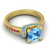 Halo Cushion Aksika Swiss Blue Topaz Ring with Ruby in 14k Yellow Gold