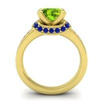 Halo Cushion Aksika Peridot Ring with Blue Sapphire and Ruby in 14k Yellow Gold