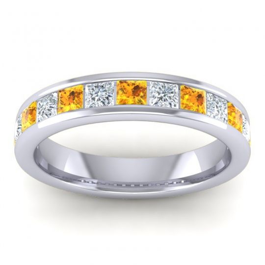 Citrine Half Eternity Patala Band with Diamond in 14k White Gold
