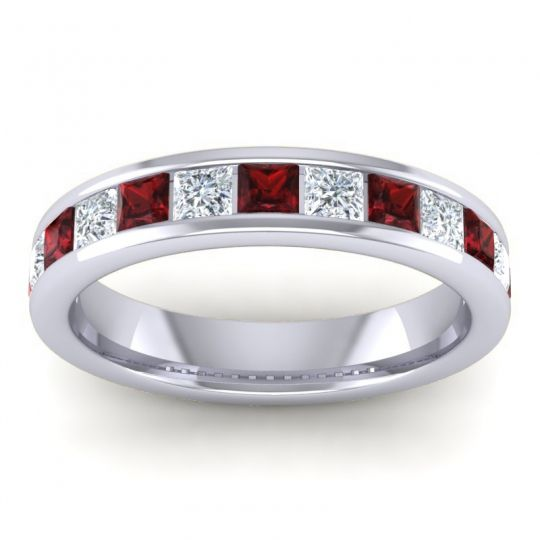 Half Eternity Patala Garnet Band with Diamond in 14k White Gold