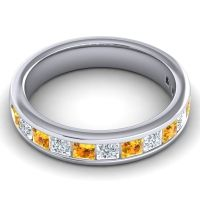 Half Eternity Patala Citrine Band with Diamond in 14k White Gold