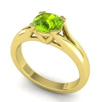 Peridot Cathedral Solitaire Niza Ring in 14k Yellow Gold