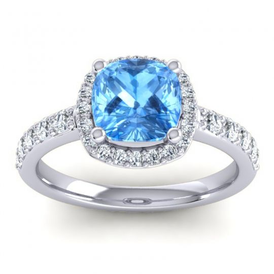 Cathedral Cushion Halo Zayya Swiss Blue Topaz Ring with Diamond in 18k White Gold