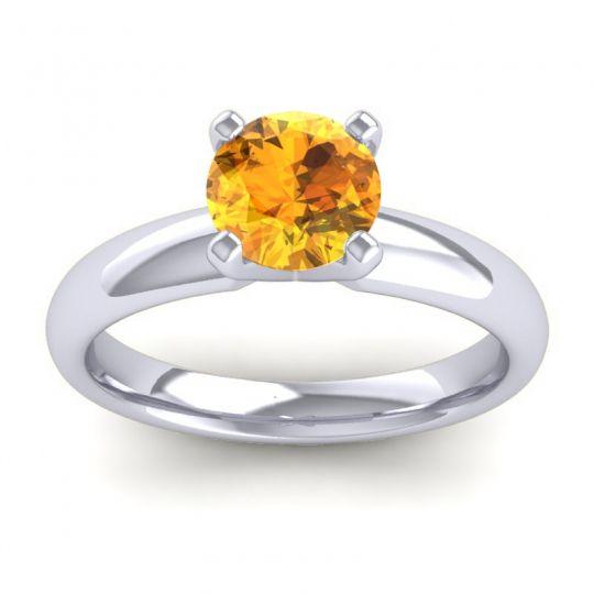 Citrine Solitaire Zira Ring in 18k White Gold