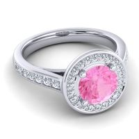 Pink Tourmaline Halo Udatta Ring with Diamond in 14k White Gold