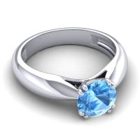 Swiss Blue Topaz Cathedral Solitaire Jara Ring in 14k White Gold