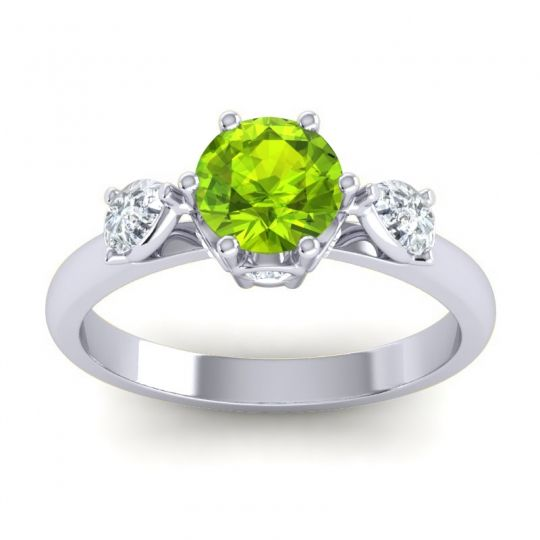 Peridot Three Stone Atta Ring with Diamond in 14k White Gold