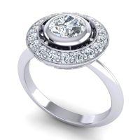 Diamond Bezel Halo Aloka Ring in 14k White Gold