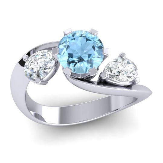 Aquamarine Three Stone Bypass Bhramati Ring with Diamond in 14k White Gold