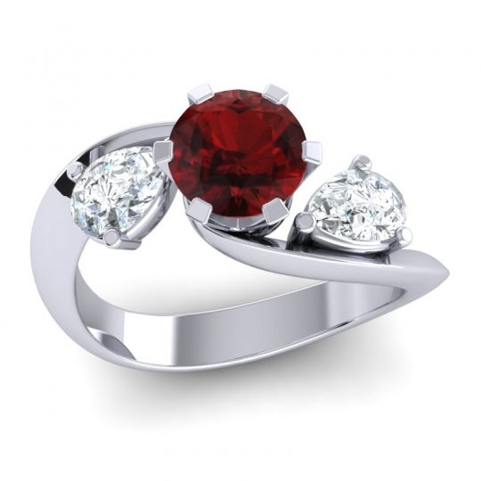 Garnet Three Stone Bypass Bhramati Ring with Diamond in 14k White Gold