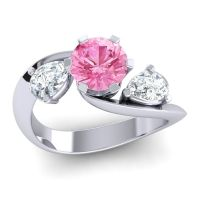 Pink Tourmaline Three Stone Bypass Bhramati Ring with Diamond in 14k White Gold