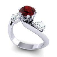 Garnet Three Stone Bypass Bhramati Ring with Diamond in 14k White Gold