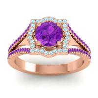 Ornate Halo Naksatra Amethyst Ring with Aquamarine in 14K Rose Gold