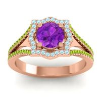 Ornate Halo Naksatra Amethyst Ring with Aquamarine and Peridot in 14K Rose Gold
