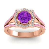 Ornate Halo Naksatra Amethyst Ring with Diamond and Pink Tourmaline in 14K Rose Gold