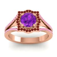 Ornate Halo Naksatra Amethyst Ring with Garnet and Pink Tourmaline in 14K Rose Gold