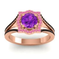 Ornate Halo Naksatra Amethyst Ring with Pink Tourmaline and Black Onyx in 18K Rose Gold