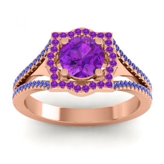 Ornate Halo Naksatra Amethyst Ring with Blue Sapphire in 14K Rose Gold
