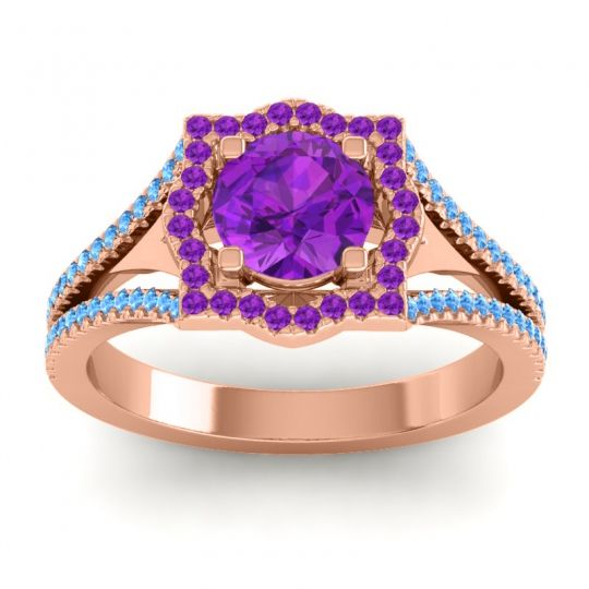 Ornate Halo Naksatra Amethyst Ring with Swiss Blue Topaz in 18K Rose Gold