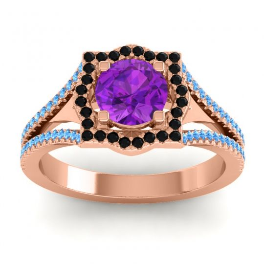 Ornate Halo Naksatra Amethyst Ring with Black Onyx and Swiss Blue Topaz in 18K Rose Gold