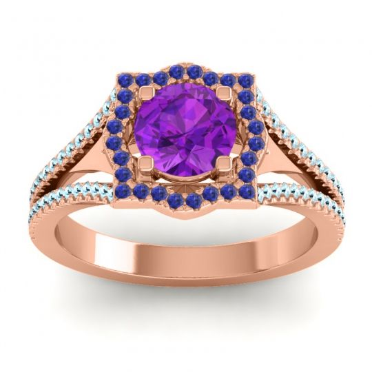Ornate Halo Naksatra Amethyst Ring with Blue Sapphire and Aquamarine in 14K Rose Gold