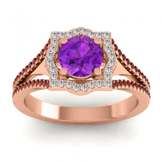 Ornate Halo Naksatra Amethyst Ring with Diamond and Garnet in 18K Rose Gold