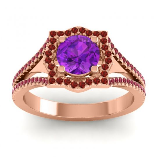 Ornate Halo Naksatra Amethyst Ring with Garnet and Ruby in 14K Rose Gold