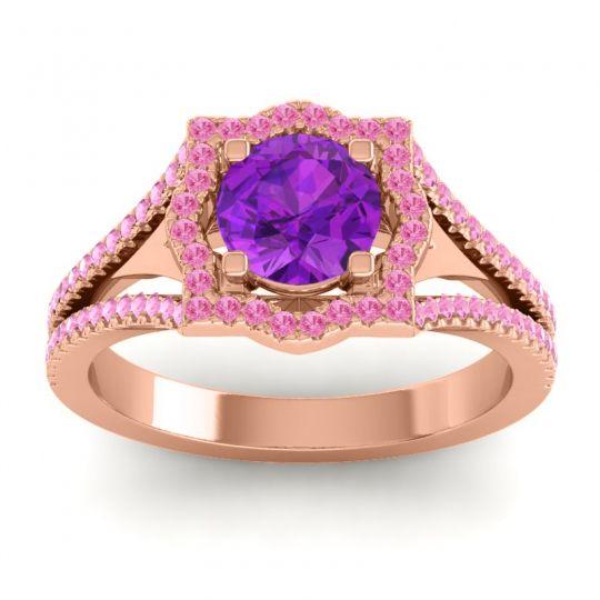 Ornate Halo Naksatra Amethyst Ring with Pink Tourmaline in 14K Rose Gold