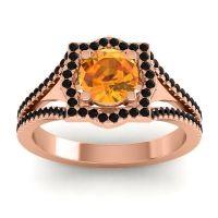 Ornate Halo Naksatra Citrine Ring with Black Onyx in 14K Rose Gold