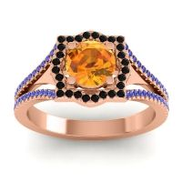 Ornate Halo Naksatra Citrine Ring with Black Onyx and Blue Sapphire in 14K Rose Gold