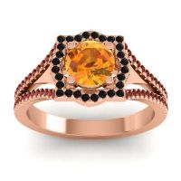 Ornate Halo Naksatra Citrine Ring with Black Onyx and Garnet in 14K Rose Gold