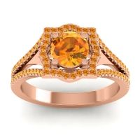 Ornate Halo Naksatra Citrine Ring in 14K Rose Gold